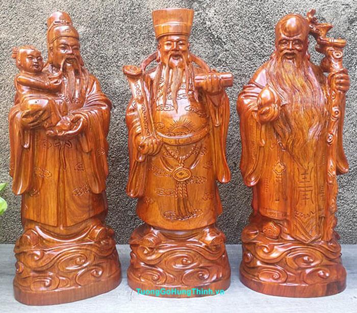 Tượng Phúc Lộc Thọ bằng gỗ thuận phong thuỷ