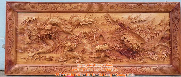 Tranh gỗ Tứ Linh (Long – Lân – Quy - Phụng)