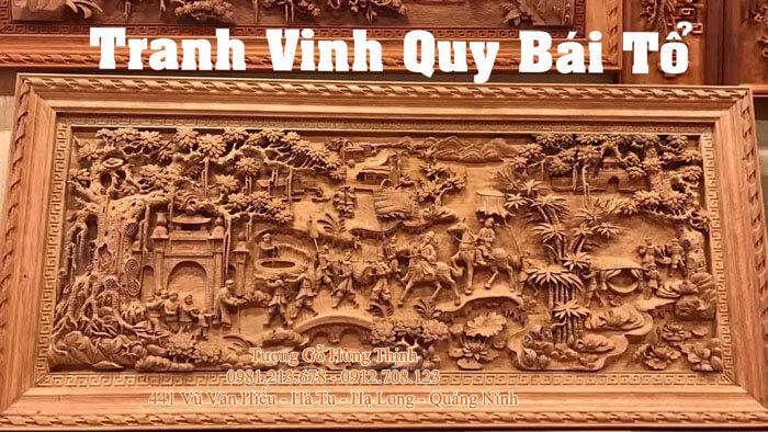 Mẫu tranh khắc gỗ đẹp Vinh Quy Bái Tổ