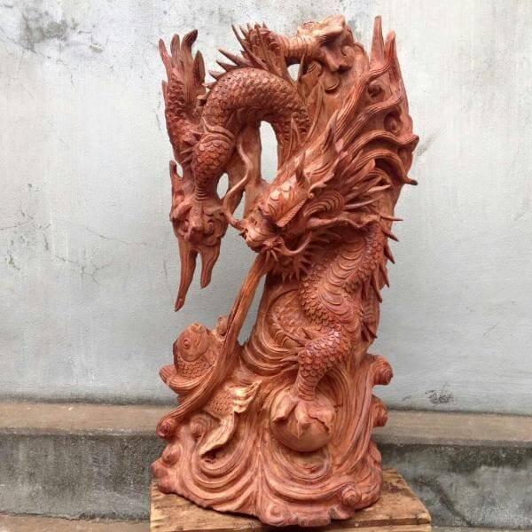 Tượng Cá Chép Hóa Rồng chạm khắc tinh xảo